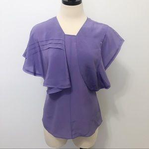 Lewit Silk Asymmetrical Ruffle Short Sleeve Blouse